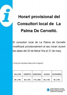 Canvi d'horari CAP la Palma