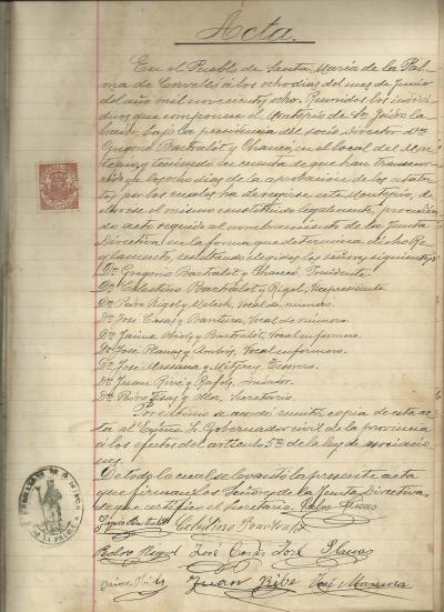 Acta d'aprovació dels estatus de 8 de juny de 1908